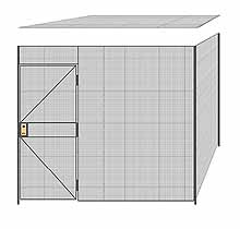 "2-Wall Welded Wire Partition w/ Ceiling - 9'4"" x 9'4"" x 8'5-1/4""H"