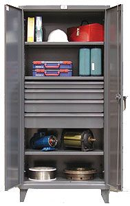 "Storage Cabinet with 4 Adjustable Shelves and 4 drawers - 36""w x 24""d x 72""h"