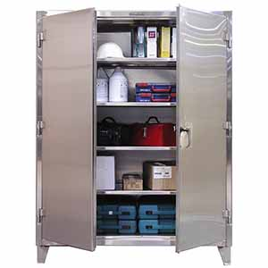 "Stainless Steel Floor Cabinet with 4 Adjustable Shelves - 36""W x 24""D x 72""H"