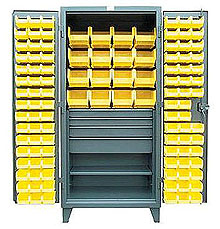 "Bin Cabinet with 4 Drawers, 2 Shelves, and 2 Sizes of Bins - 36""W x 24""D x 72""H"