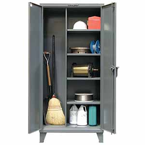 "Broom Closet Storage Cabinet with 4 Adjustable Shelves - 60""W x 24""D x 72""H"