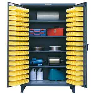 "Bin Storage Cabinet with 4 Adjustable Shelves and 94 Bins  - 36""W x 24""D x 72""H"