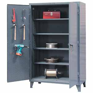 "Two Door Lockable Pegboard Storage Cabinet with 4 Adjustable Shelves - 60""W x 24""D x 72""H"