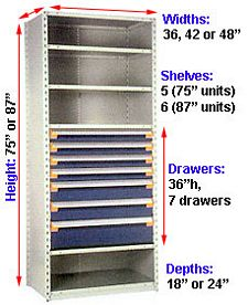 Modular Drawer Shelving Insert, 48w x 18d x 36h, 7 Drawers