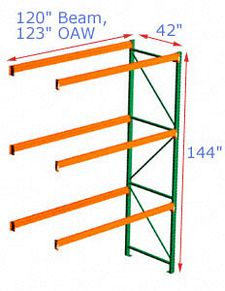 Pallet Rack Adder - 144h x 42d x 120w, 3 Beam Levels - 6700 Cap. Beams