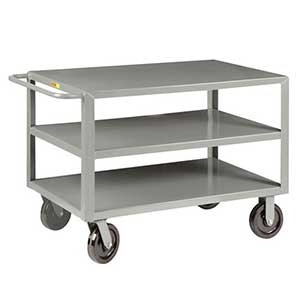 "Heavy Duty Service Cart - 3 Shelves, 24""W x 48""L, 2 Swivel & 2 Rigid Casters"
