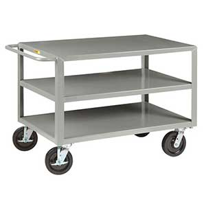 "Heavy Duty Service Cart - 3 Shelves, 30""W x 48""L, 4 Swivel Casters"