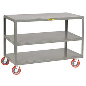 "Mobile Table - 3,600 lb. Capacity, 3 Shelves, 24""W x 48""L x 34""H, Swivel Casters"
