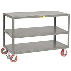 "Mobile Table - 3,600 lb. Capacity, 3 Shelves, 30""W x 48""L x 34""H, Rigid & Swivel Casters"