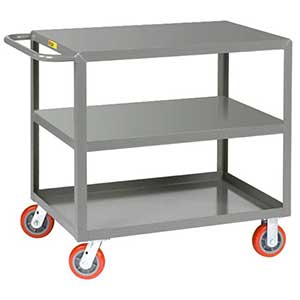 "Medium Duty Service Cart - 3 Shelves, 30""W x 60""L, Flush Top"