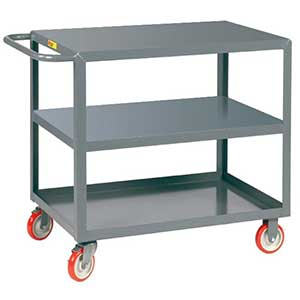 "Light Duty Service Cart - 3 Shelves, 18""W x 32""L, Flush Top"