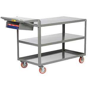 "Order Picking Cart - 3 Shelves, 18""W x 32""L, Flush Top, Storage Pocket"
