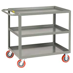 "Medium Duty Service Cart - 3 Shelves, 24""W x 48""L, Lip Top"