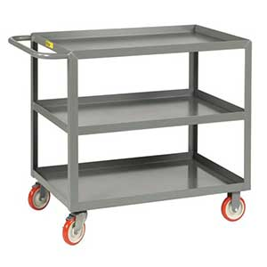 "Light Duty Service Cart - 3 Shelves, 24""W x 48""L, Lip Top"