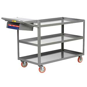 "Order Picking Cart - 3 Shelves, 24""W x 48""L, Lip Top, Storage Pocket"