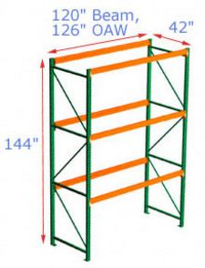 Pallet Rack Starter - 144h x 42d x 120w, 3 Beam Levels - 6700 Cap. Beams