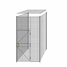 "3-Wall Welded Wire Partition w/ Ceiling - 5'4"" x 5'4"" x 10'5-1/4""H - 3' Hinged Gate"