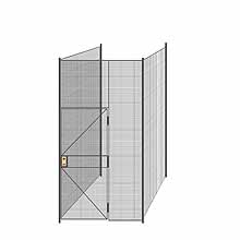 "3-Wall Welded Wire Partition - 5'4"" x 5'4"" x 10'5-1/4""H - 3' Hinged Gate"