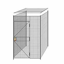"3-Wall Welded Wire Partition w/ Ceiling - 5'4"" x 5'4"" x 8'5-1/4""H"