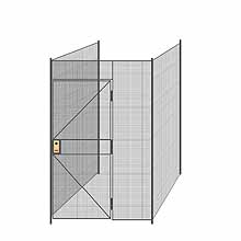 "3-Wall Welded Wire Partition - 5'4"" x 5'4"" x 8'5-1/4""H - 3' Hinged Gate"