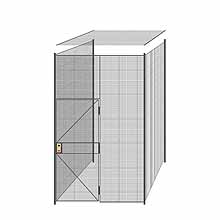 "3-Wall Welded Wire Partition w/ Ceiling - 6'4"" x 6'4"" x 10'5-1/4""H"