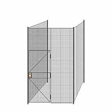 "3-Wall Welded Wire Partition - 6'4"" x 6'4"" x 10'5-1/4""H"
