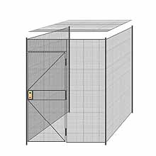 "3-Wall Welded Wire Partition w/ Ceiling - 6'4"" x 6'4"" x 8'5-1/4""H"