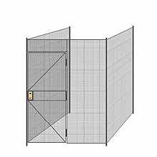 "3-Wall Welded Wire Partition - 6'4"" x 6'4"" x 8'5-1/4""H - 3' Hinged Gate"