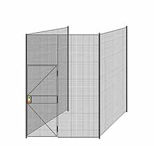 "3-Wall Welded Wire Partition - 7'4"" x 7'4"" x 10'5-1/4""H - 3' Hinged Gate"