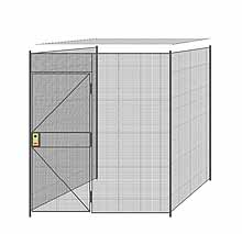 "3-Wall Welded Wire Partition w/ Ceiling - 7'4"" x 7'4"" x 8'5-1/4""H - 3' Hinged Gate"