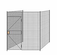 "3-Wall Welded Wire Partition - 7'4"" x 7'4"" x 8'5-1/4""H - 3' Hinged Gate"