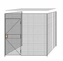 "3-Wall Welded Wire Partition w/ Ceiling - 8'4"" x 8'4"" x 8'5-1/4""H"