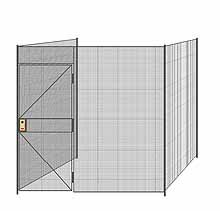 "3-Wall Welded Wire Partition - 8'4"" x 8'4"" x 8'5-1/4""H - 3' Hinged Gate"