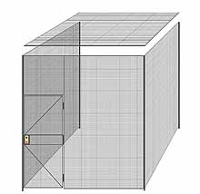 "3-Wall Welded Wire Partition w/ Ceiling - 9'4"" x 9'4"" x 10'5-1/4""H"