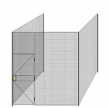 "3-Wall Welded Wire Partition - 9'4"" x 9'4"" x 10'5-1/4""H - 3' Hinged Gate"