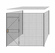 "3-Wall Welded Wire Partition w/ Ceiling - 9'4"" x 9'4"" x 8'5-1/4""H - 3' Hinged Gate"