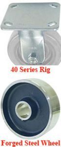 "40 Series Rigid Caster with 4"" x 1-1/2"" Forged Steel Wheel and 1,200 lb. Capacity"
