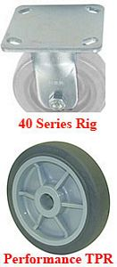 "40 Series Rigid Caster - 6"" x 1-1/2"" Performance TPR Wheel - 475 lb. Cap."