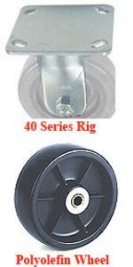 "40 Series Rigid Caster with 5"" x 1-1/2"" Polyolefin Wheel and 440 lb. Capacity"