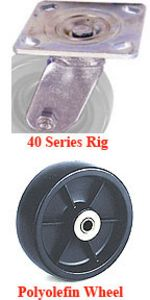"40 Series Swivel Caster - 4"" x 1-1/2"" Polyolefin Wheel - 375 lb. Cap."