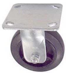 "40 Series Rigid Caster with 5"" x 1-1/2"" Rubber on Iron Wheel and 300 lb. Capacity"
