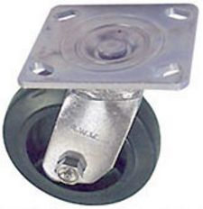 "40 Series Swivel Caster - 6"" x 1-1/2"" Rubber on Iron Wheel - 370 lb. Cap."