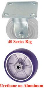 "40 Series Rigid Caster with 3-5/8"" x 1-1/2"" Urethane on Aluminum Wheel and 420 lb. Capacity"