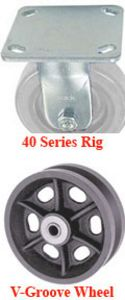 "40 Series Rigid Caster with 4"" x 1-1/2"" V-Groove Iron Wheel and 700 lb. Capacity"