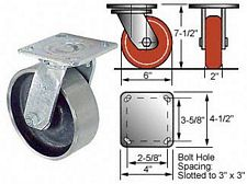 6 x 2 Swivel 45 Series Caster- Forged Steel Wheel - Roller Bearings - 900 lbs. cap.