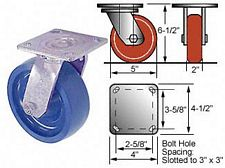5 x 2 Swivel 45 Series Caster- Urethane Solid Wheel - Roller Bearings - 750 lbs. cap.