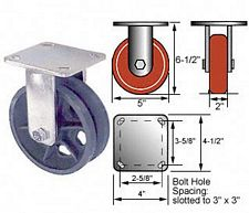 5 x 2 Rigid 45 Series Caster- V-Groove Iron Wheel - Roller Bearings - 900 lbs. cap.