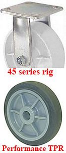 "45 Series Rigid Caster - 8"" x 2"" Performance TPR Wheel - 600 lb. Cap."