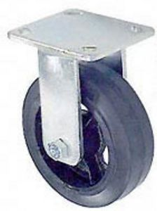 "45 Series Rigid Caster with 6"" x 2"" Rubber on Iron Wheel and 410 lb. Capacity"