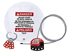 "Forklift Steering Wheel Cover with Hasp and Cable Lockout - 16"" Diameter"